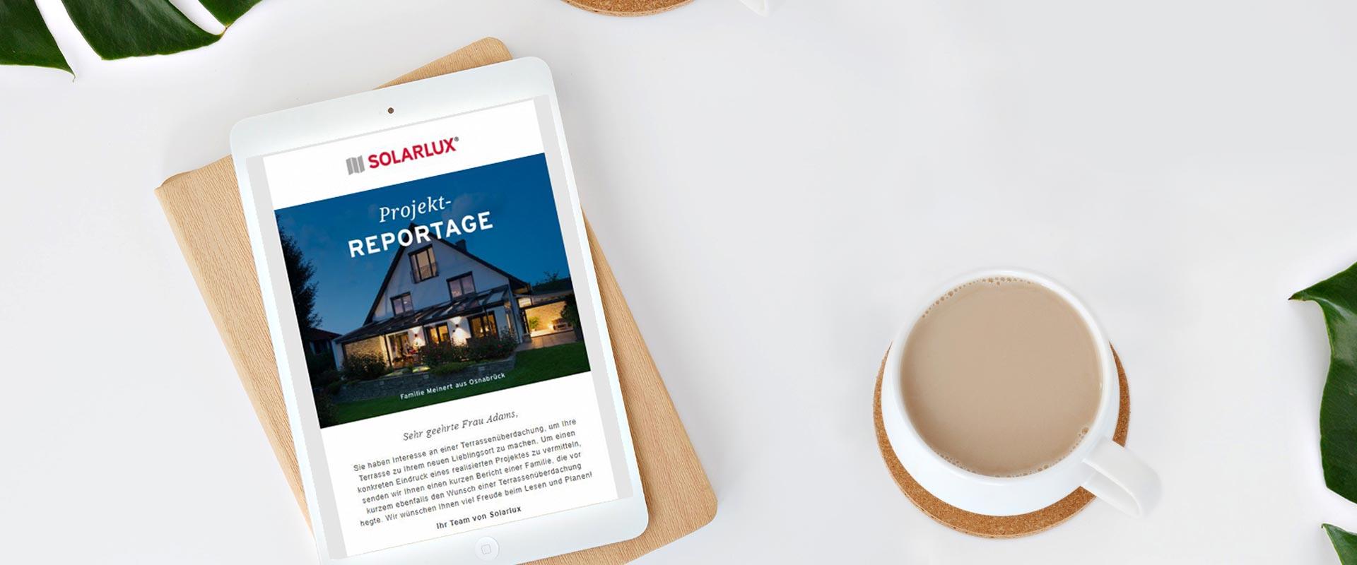 Solarlux Newsletter für Terrassenüberdachungen
